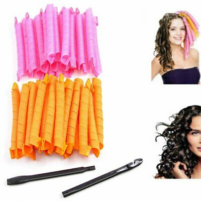 40X 50CM Magic Long Hair Curlers Curl Formers Spiral Rollers Styling Tool + Hook • 13.99£
