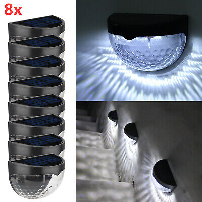 8 X Led Solar Power Garden Fence Lights Wall  Outdoor Security Lamps Cold Light • 18.99£