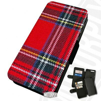 Printed Faux Leather Flip Phone Case For IPhone -  Scottish-Tartan-Red • 9.75£