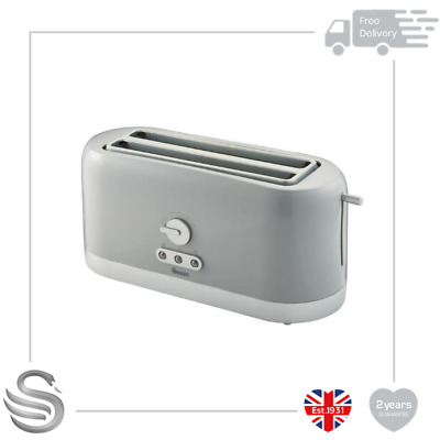 Swan 4 Slice Long Slot Toaster 1400W Variable Browning Control Reheat Defrost • 24.99£