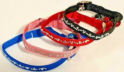 £3.99 • Buy Cat KittenCollar Diamante Stones Safety Elastic Bell Bling Cat ID Tag ENGRAVED