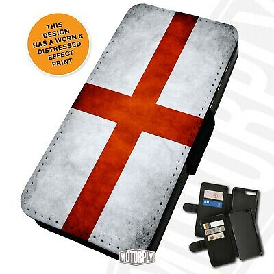 Printed Faux Leather Flip Phone Case For IPhone - Worn-English-Flag • 9.75£