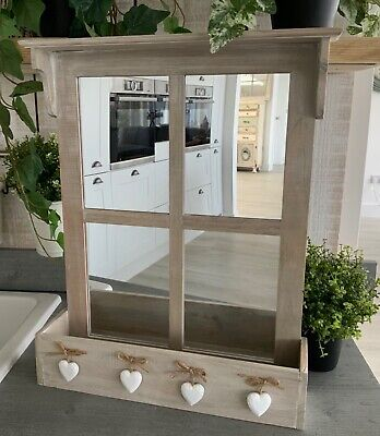 £36.99 • Buy Vintage Chic Window Mirror With Shelf Hanging Hearts Grey French Country Wall