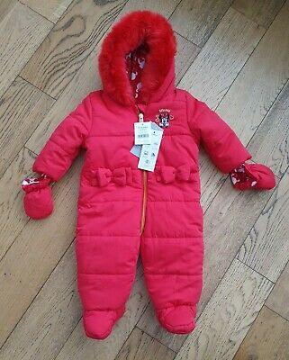 Disney Baby Minnie Mouse Girls Snowsuit With  Mittens 3-6 Months BNWT  • 20£