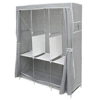 66  Portable Large Fabric Canvas Wardrobe Clothes Storage Rail Cover Cupboard • 16.58£