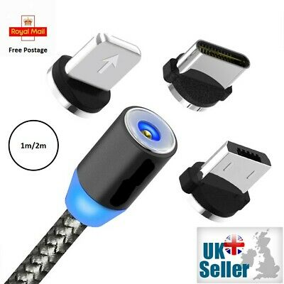 £1.89 • Buy 3 In 1 Magnetic Fast Charging USB Cable Charger 2A Phone Type-C Micro USB IOS