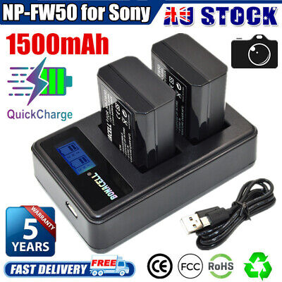 AU28.99 • Buy 2x 1500mAh NP-FW50 Battery + USB Charger For Sony Alpha A3000 A5000 A6000 A6500