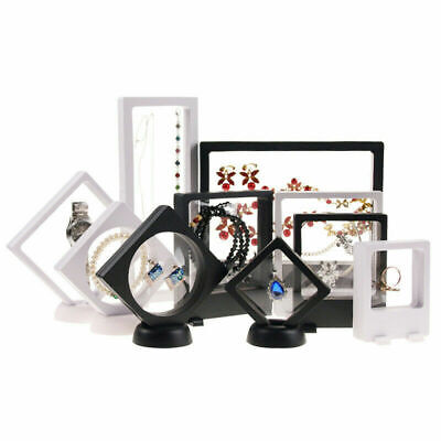 3D Floating Picture Frame Shadow Box Jewelry Display Stand Ring Pendant Holder • 3.99£