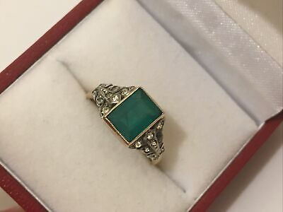 9ct Gold Antique Art Deco Large Natural Emerald Solitare Diamond Ring Size M • 375£