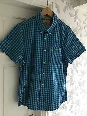 £10.99 • Buy Hollister Blue Gingham Checked Shirt Size XL Short Sleeve Button Down Collar