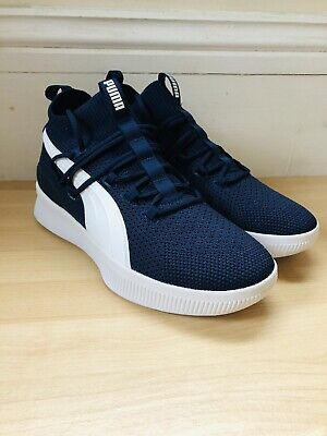 Mens Puma Clyde Court Navy Basketball Trainers (G1) Size Uk 7.5 • 25£