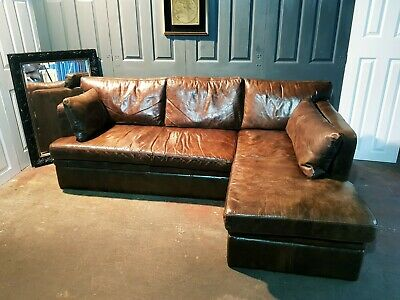 Superb Timothy Oulton Halo Corner Leather Sofa With Storage  • 1,499£