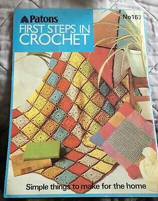 Vintage PATONS First Steps In Crochet No 167 Reprint Of Popular Patterns Book • 5.89£