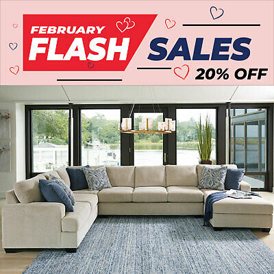 AU2599 • Buy Lincoln Fabric Modular 7 Seater Sofa Large Lounge Suite With Chaise
