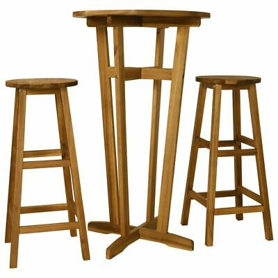AU162.95 • Buy 3 Pcs Wooden Bar Table And Stools Set Stylish Acacia Indoor Outdoor Furniture