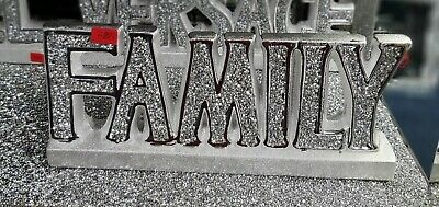 Crushed Crystal Diamond Silver Family Sign Ornament Shelf Sitter Mantle Piece • 22.99£