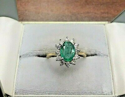 1.10ct Oval Cut Colombian Emerald 0.20ct Diamond Cluster 14K Yellow Gold Ring M • 590£