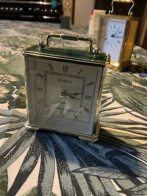 Vintage Tempus Quartz Carriage Clock, Green / Gold, Battery Operated • 2.40£