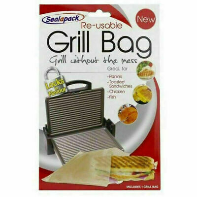 Reusable Grill Bag NO MESS Paninis Toasted Sandwiches Sealapack 4 Packs • 5.45£
