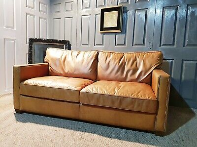 Superb Timothy Oulton Halo Viscount Williams 2 Seater Large Leather Sofa • 899£
