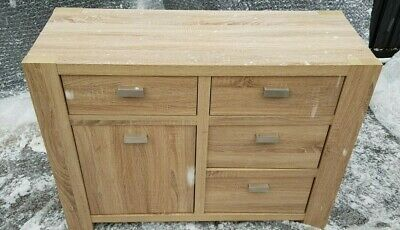 SUPER-RARE NEXT 'Corsica' Range Sideboard 4 Drawer 1 Cupboard Light Oak & Silver • 159.99£