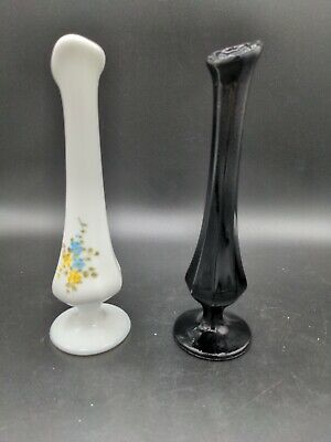 $34.99 • Buy Pair Of Vntage Fenton Bud Vases Black And Hand-Painted Milk Glass Signed B Nash