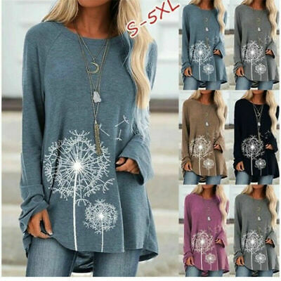Womens Floral Long Sleeve Baggy Tunic Tops Ladies Casual Loose Jumper Pullover • 7.99£