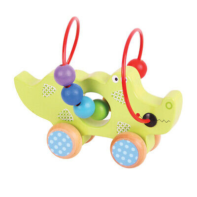 Bigjigs Toys Wooden Crocodile Push And Pull Along Bead Frame For Toddler Child • 19.09£