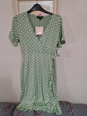 QED LONDON Polka Dots Wrape Over Short Sleeves Dress Size 12uk • 8.50£