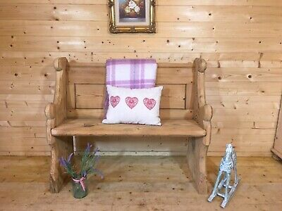 Antique Rustic Solid Wooden Pine Church Pew Settle Monks Bench Wooden Hall Seat • 295£