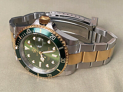 $ CDN537.84 • Buy Reginald Mens Watch Green Gold Stainless Steel Rolex Submariner Style BEAUTIFUL