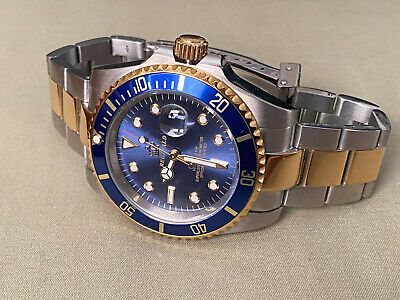 $ CDN544.16 • Buy Reginald Mens Watch Stainless Steel Blue Gold Rolex Submariner Style BEAUTIFUL