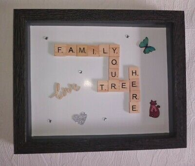 Personalised Family Scrabble Letter Box Frame Picture Christmas Present Mum Nan • 18.99£
