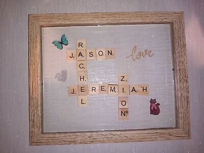 Personalised Family Tree Scrabble Letter Box Frame Picture Christmas Present Mum • 18.99£