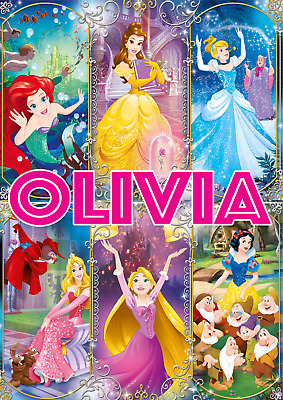 Personalised Name Disney Princesses Princess Poster Print A4 A3 A2 A1 A0 • 4.99£