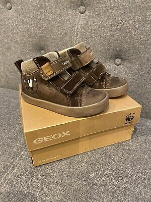 GEOX Boys Leather Boots UK Infant 7 EU 24 High-tops Shoes Brown • 8£