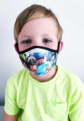 Face Mask For Kids 4-6 & 7-15 Yo Mine Craft Fort Night  Washable Reusable  • 2.95£
