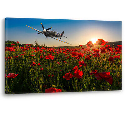 £71.95 • Buy Spitfire Over Poppy Field Sunset Poppies Remembrance RAF Canvas Picture Print
