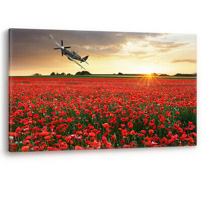 £71.95 • Buy Spitfire Aircraft At Sunset Poppy Field Poppies Remembrance Canvas Picture Print