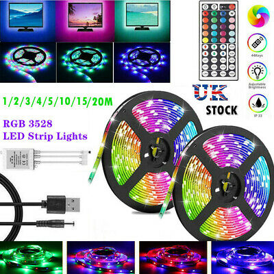 1-20M LED Strip Lights RGB Colour Changing Tape Cabinet TV Lighting Party Decor  • 4.99£