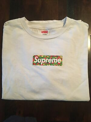 $ CDN535.88 • Buy Supreme X Bape Box Logo Psyche Camo Large A Bathing Ape Rare 🍒🔥🌟🎂🍭🍦💎