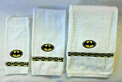 Batman Towel Set Hand Decor For Your Bathroom Or Man Cave Hand Made In Canada • 15.71£