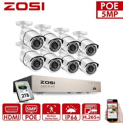 AU369.99 • Buy ZOSI 5MP H.265+ NVR 8CH POE Security Camera System CCTV IP Network Outdoor 2TB