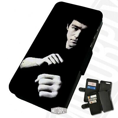 Printed Faux Leather Flip Phone Case For IPhone - Bruce-Lee-Fists-B&W • 9.75£
