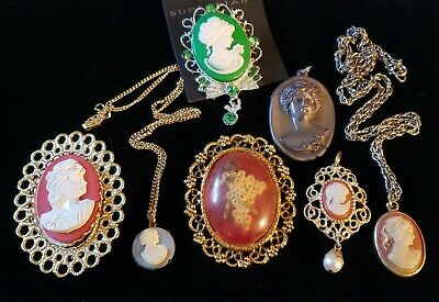 $ CDN8.86 • Buy Lot Vintage Jewelry Cameo Brooch Pin Pendant Signed Coventry Necklaces