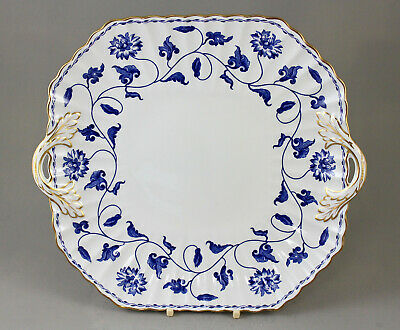 Spode Fine Bone China Blue Colonel R6235 Handled Cake Plate Repaired Handle • 15£