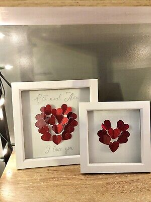 Personalised I Love You Heart Frame Picture For Valentines Or Anniversary • 12.99£