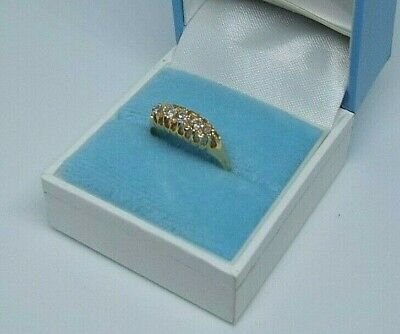 18 Ct Gold Five Stone Diamond Ring 2.72 Grams Fab Boxed • 149£
