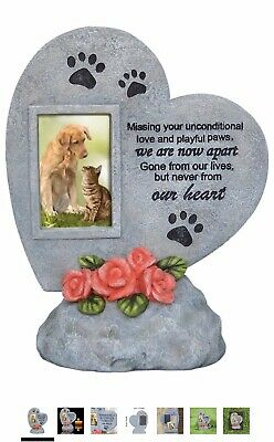 Pet Memorial Stone Heart Engraved Plaque Dog Cat In Memory Photo Frame Tombstone • 17.50£