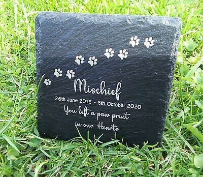 Personalised Pet Memorial Plaque For Pet Cat Dog Grave Stone Slate Marker Gift • 4.99£